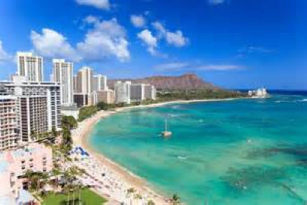 Waikiki.  My apartment is one block behind 2 cylinder twin tower in the center of Waikiki