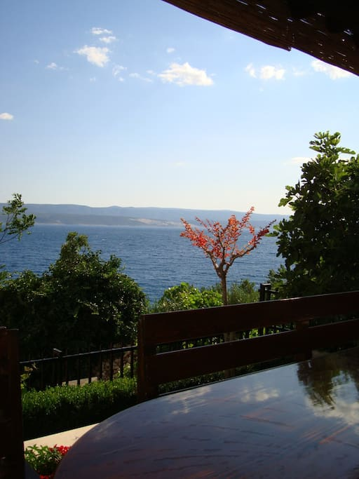 Sea view and island of Brac from the outside sitting area
