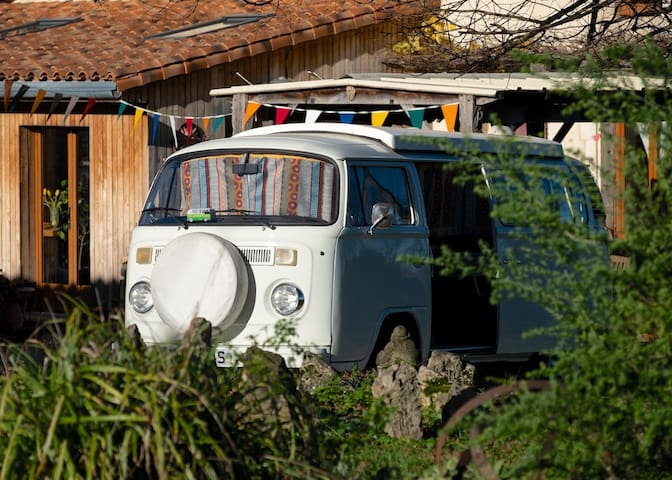 Vintage VW Kombi 2 adults. Under The Lime Tree