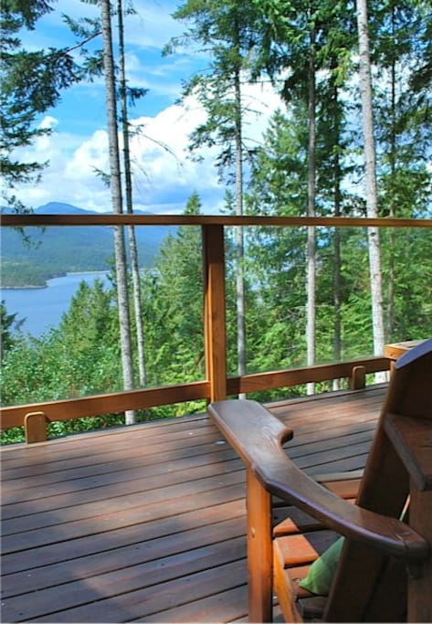 Beautiful view up Sechelt Inlet from 260 sf of cedar decks