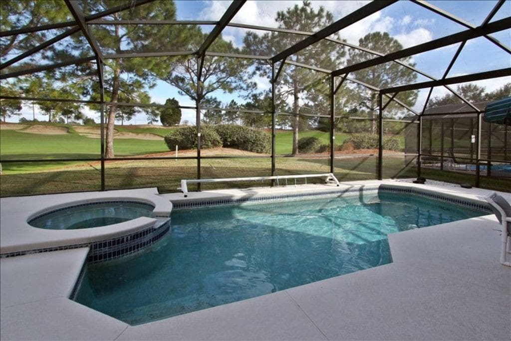 private pool with golf course view