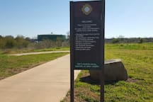 This is the entrance for the walking trail along the S.A. river.