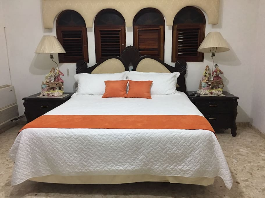 Master Bedroom with walk in closet, full bathroom with jacuzzi and stand up jet shower and air conditioning