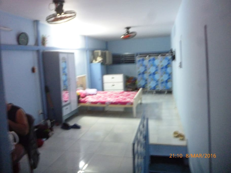 2nd Floor: bath, bed-mattress, suitcases, TV, WI-Fi, table, fans