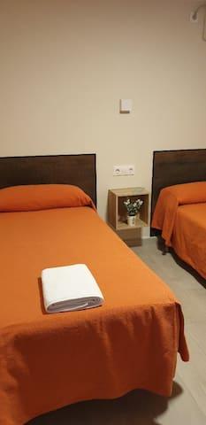 Habitación doble 2 camas y baño compartido