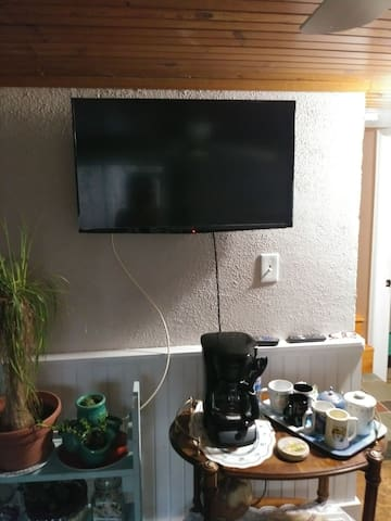 mounted TV with Dish satellite