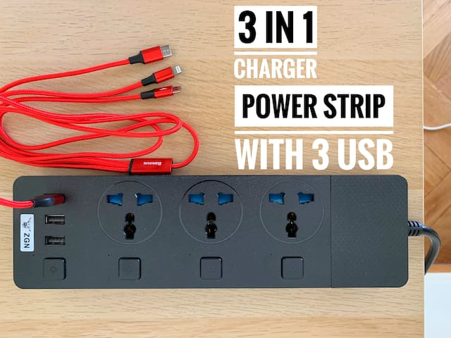 multi-type power strip include 3 usb.3 kinds of charger also ready.