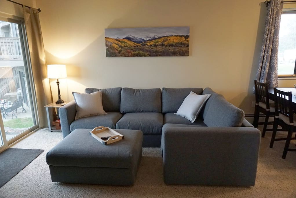 Comfortable sectional for relaxing after a fun day exploring Winter Park