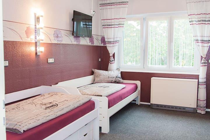 Einzelbetten in Zimmer red