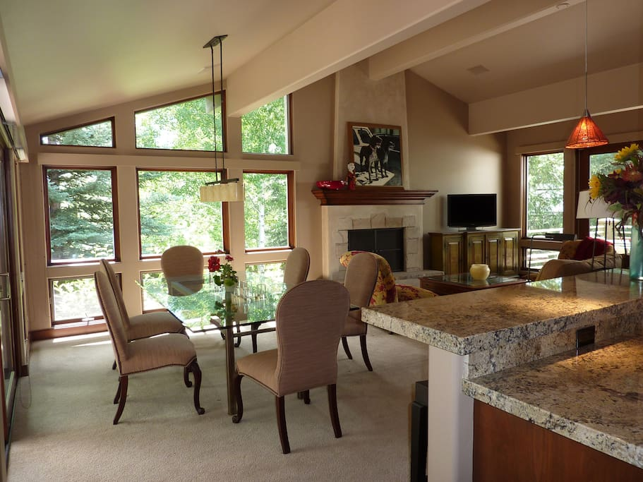 Open living plan with views in all directions