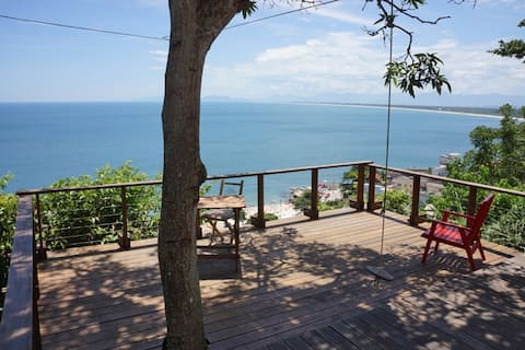 front deck with view of ocean and beach below