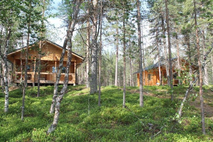Left side  in the picture is sauna and one bedroom for 2 people. right side there is main cabin where is one bedroom and beds  for 6