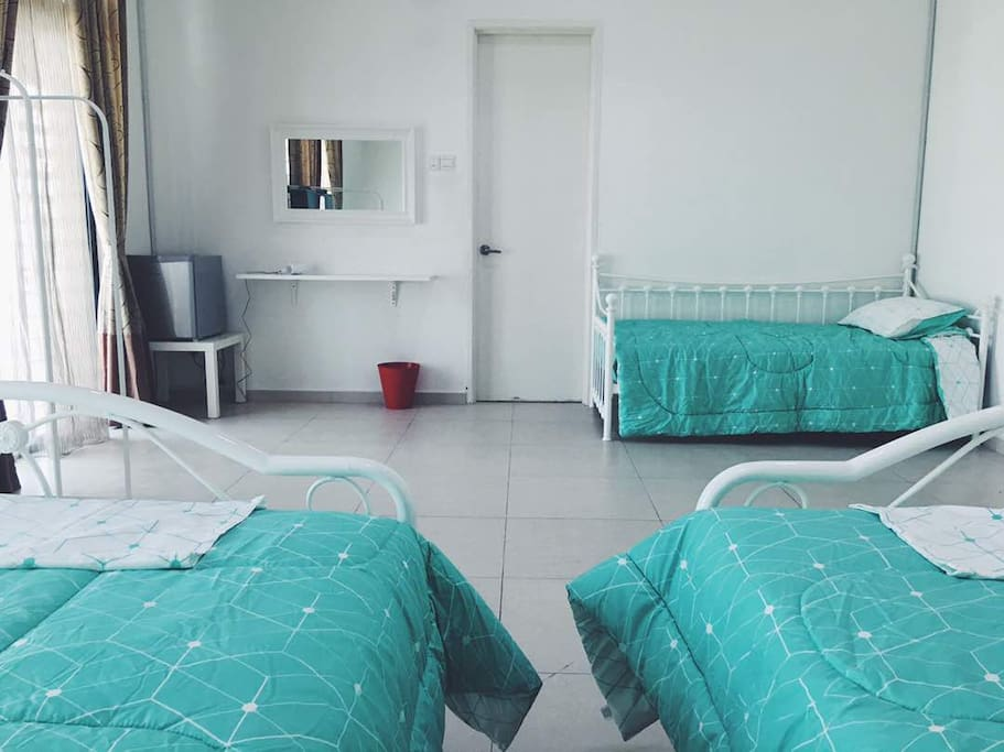 Room is also completed with ceiling fa, airconditiner, private mini-fridge and attached private bathroom.