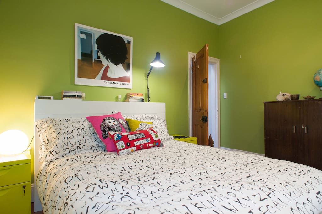 Comfortable bed, reading lamps, travel books and lockable bedside cabinets...