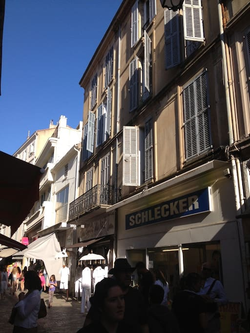 Sunny and quiet place above the pedestrian street
