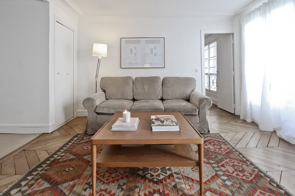 The Living Room is luminous and spacious. The couch folds out into a comfortable queen-size bed.