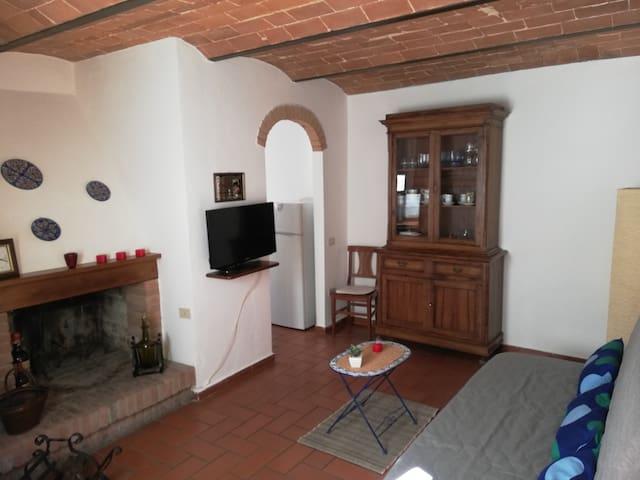 Sala con camino e TV piano terra