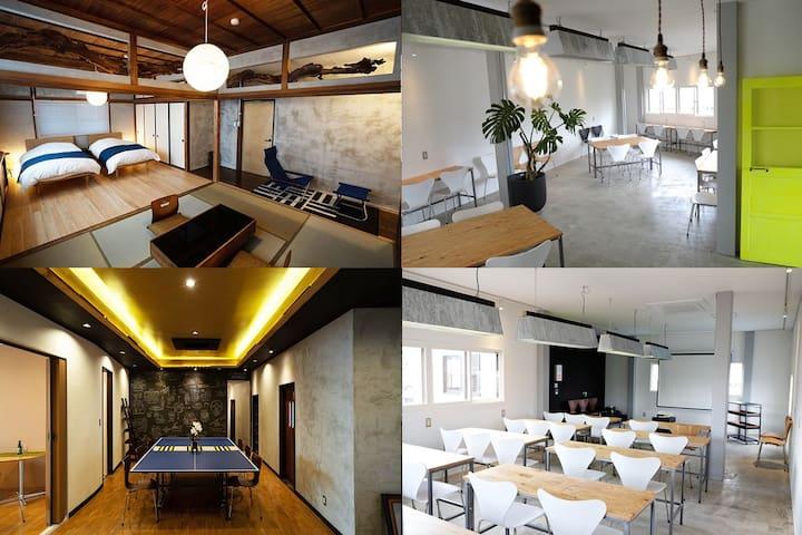 西武秩父駅徒歩7分、多目的スペースで勉強会・合宿可能!ちちぶホステル最大14名宿泊可能な貸切プラン♪