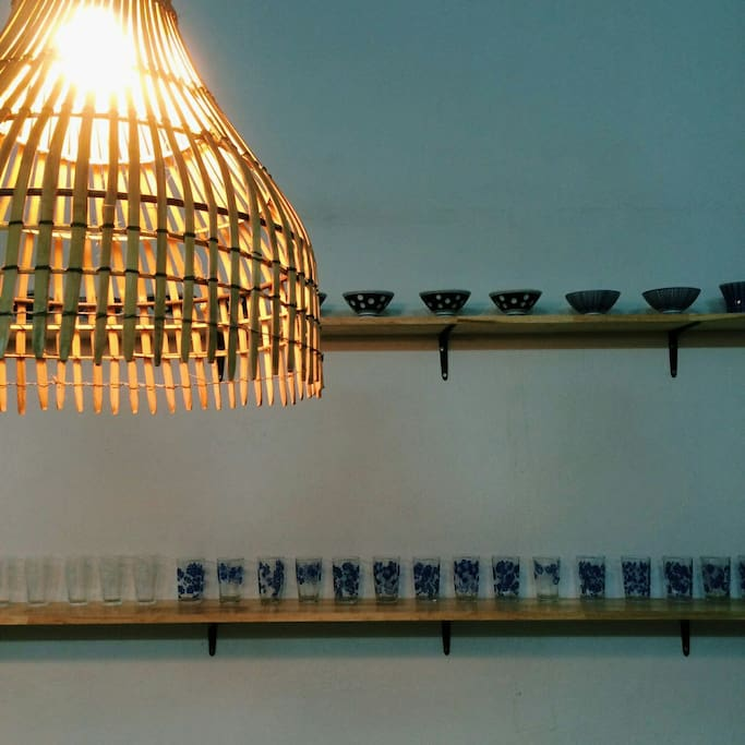 Dining area, decorated with local handmade lamp