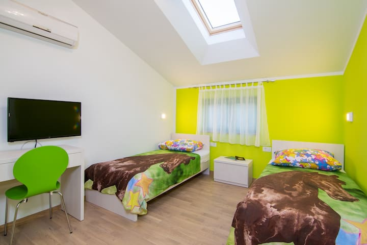 Room with the 2 single beds on the first floor