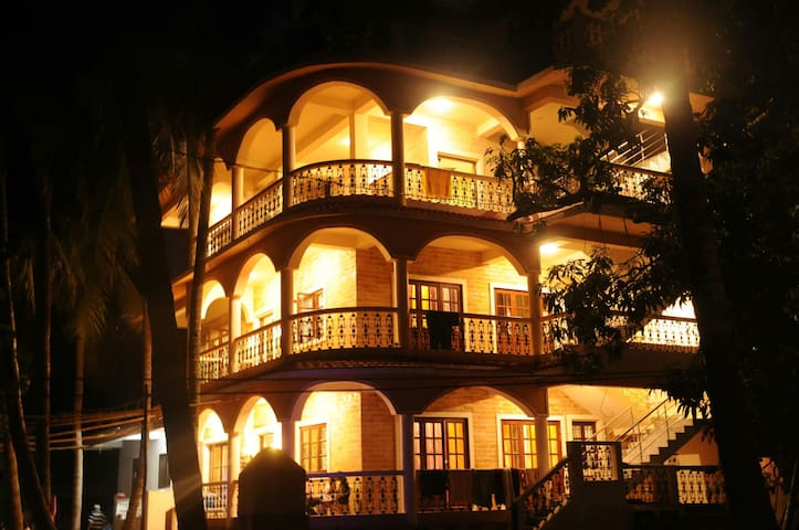Exterior view of the house at night