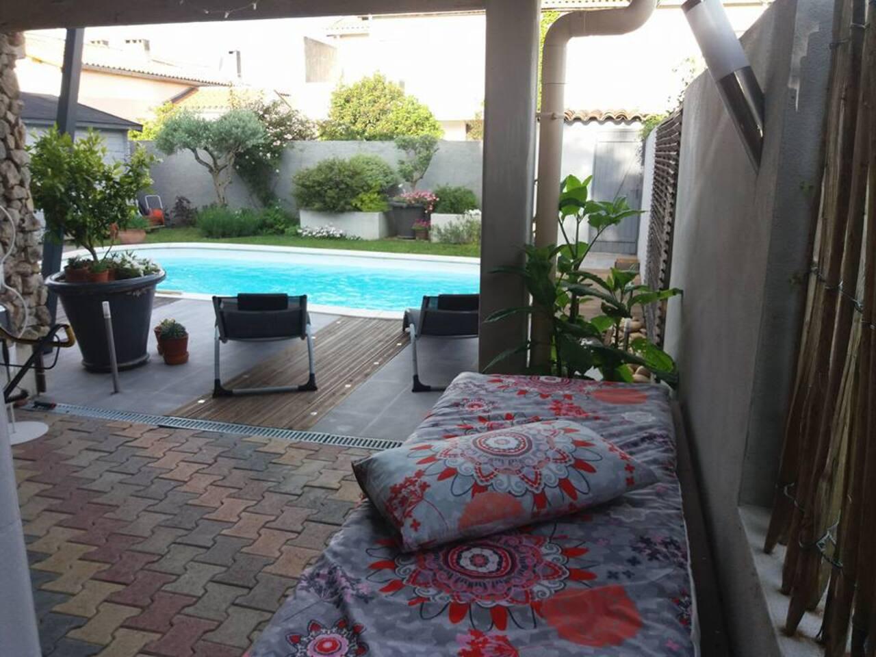 Espace jardin piscine