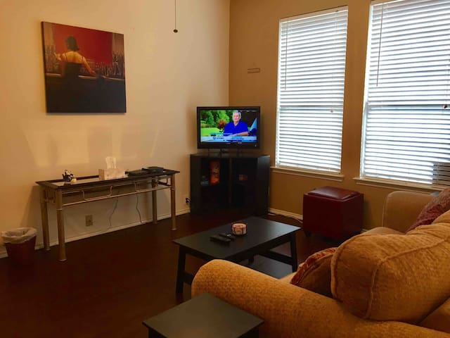 TV with local channels and Roku.  Enjoy a game of Jenga or cards.