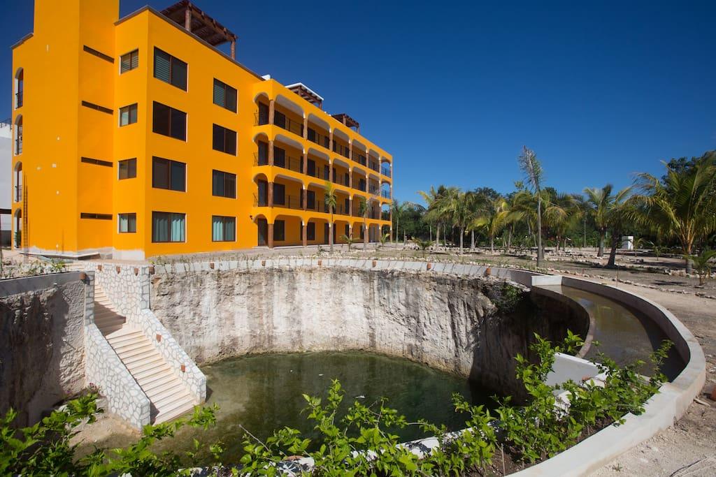 the building plus the cenote