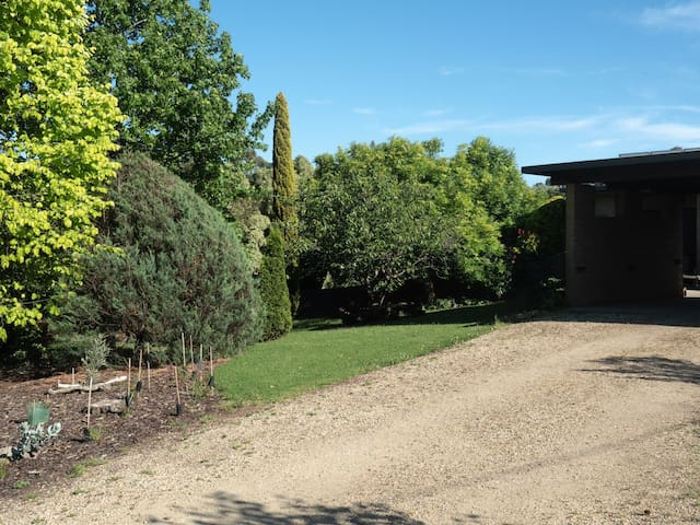 The driveway in , park in the carport for your stay .