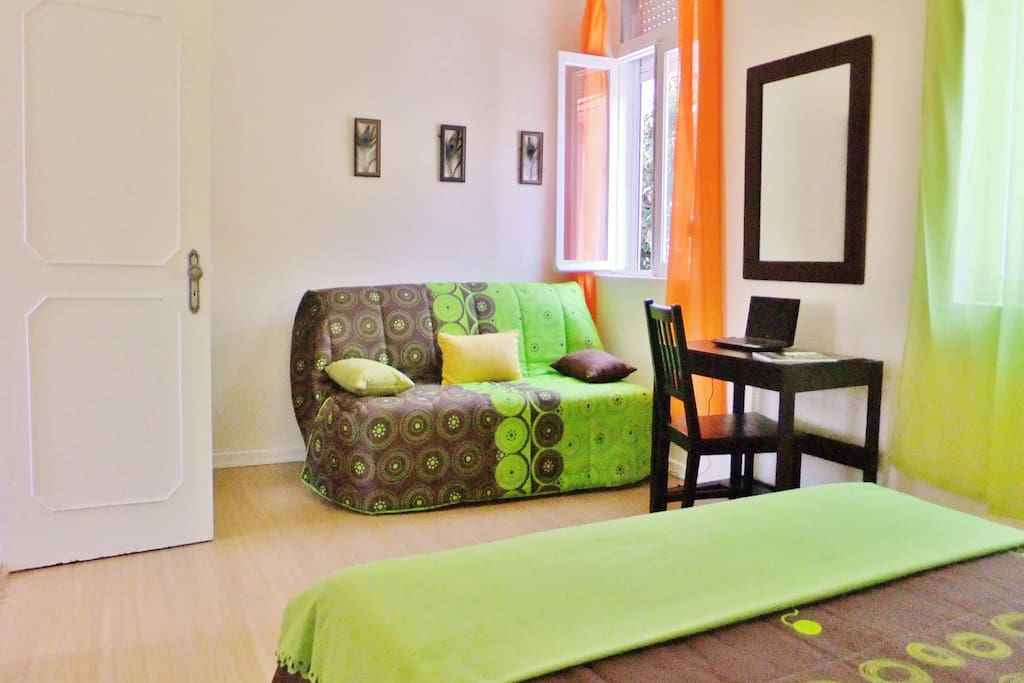 The large bedroom can sleep 4 persons with a click clack sofa bed.