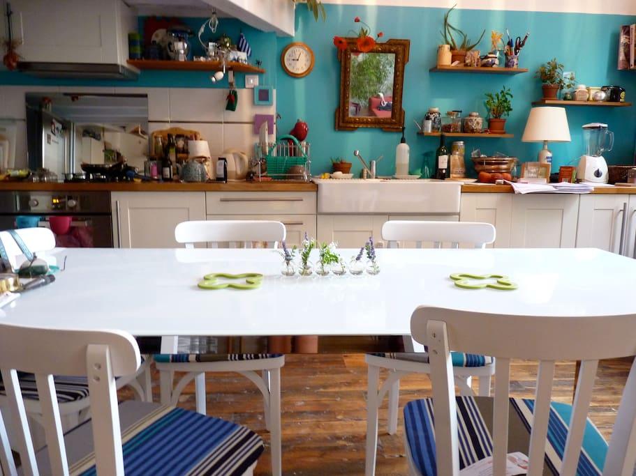cuisine ouverte sur le salon/open kitchen