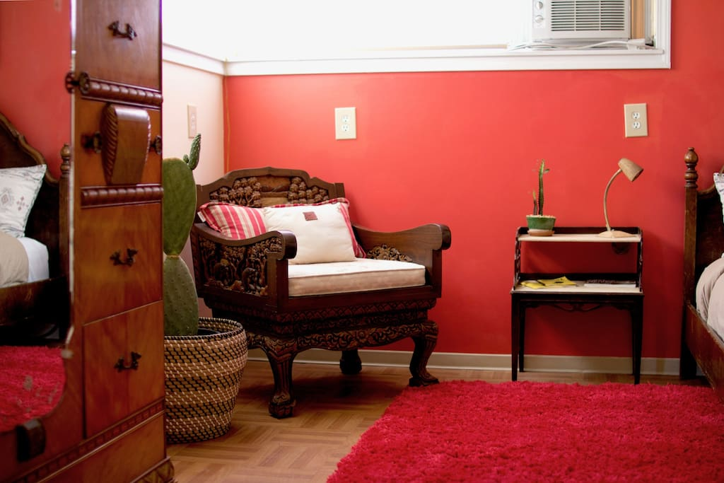 Bedroom with antique full sized bed
