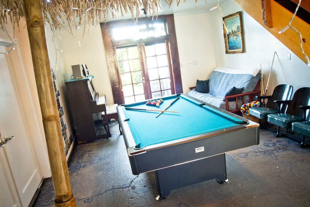 Billiard room opens to spa and private garden.