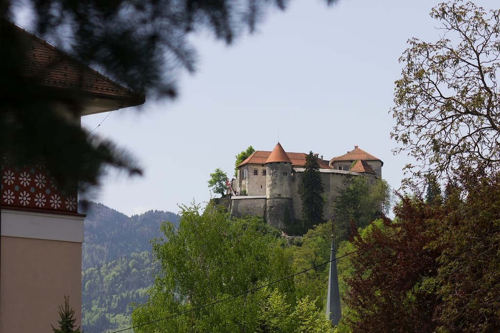 View on the BLED Castle from the yard.