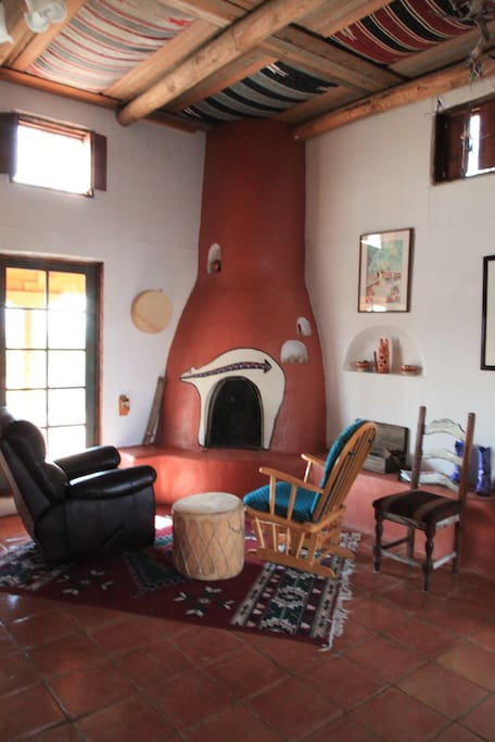Fireplace in the dining area
