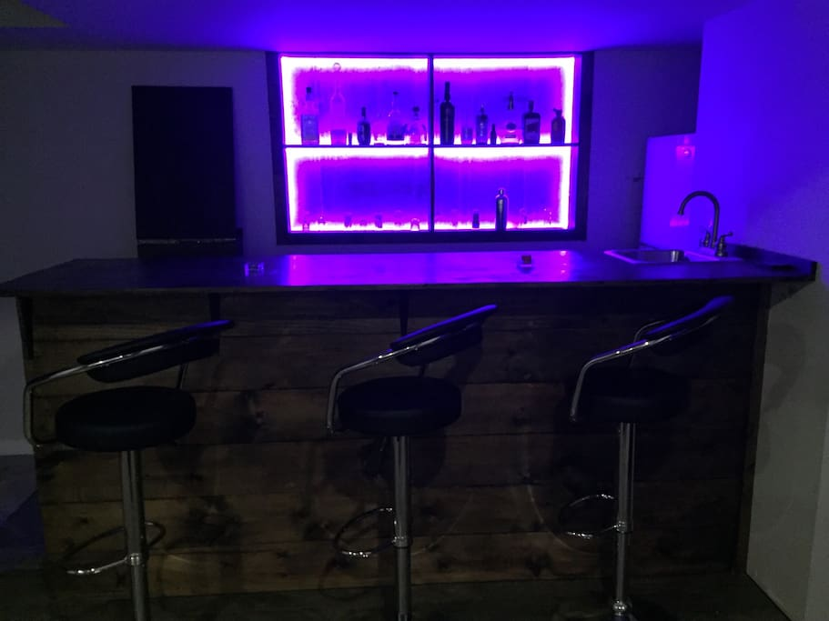 Bar with LED lights (choose your colour) and fridge with freezer.