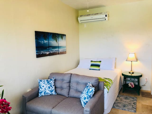 Spacious studio with queen bed and sitting area. Loveseat faces the ocean view