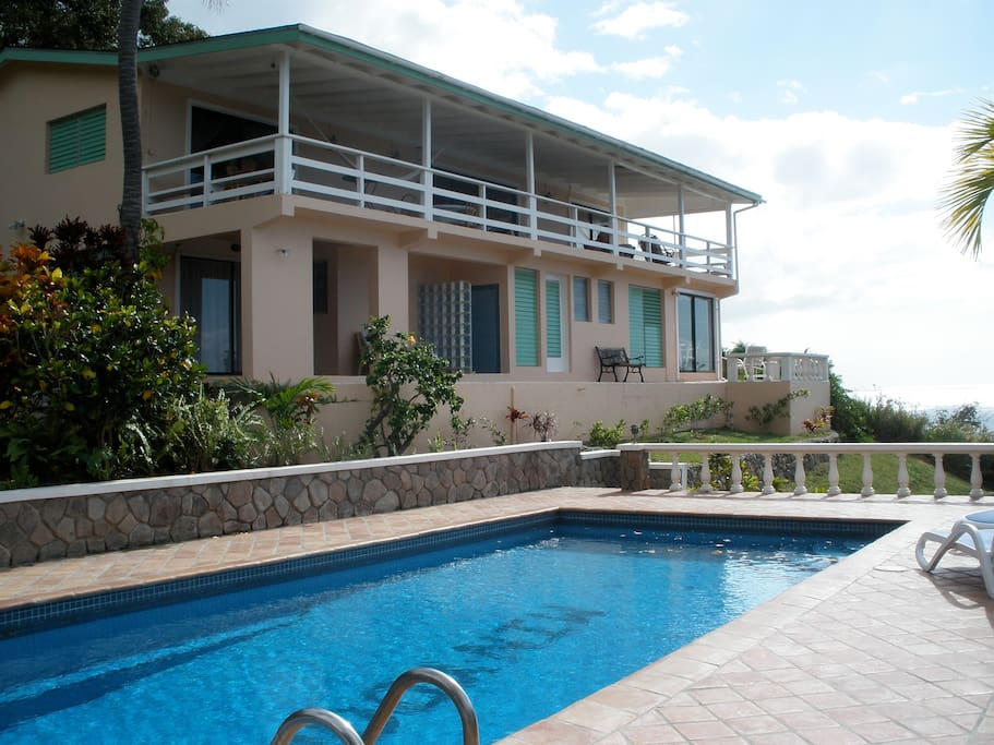View from pool to the house