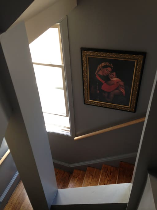 The house is filled with inspiring artwork.