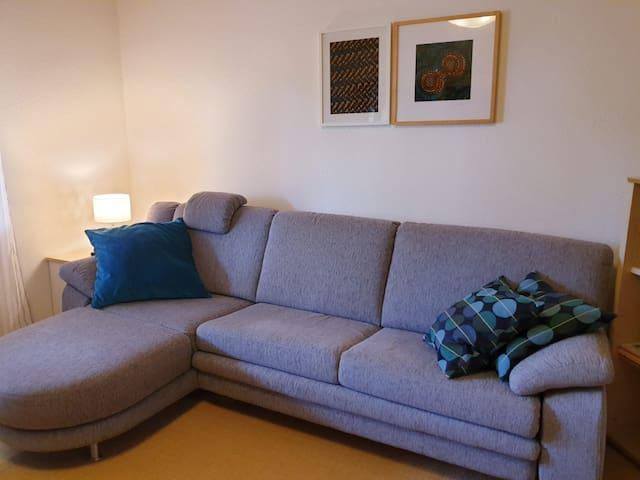 Wohnzimmer mit ausziehbarem Sofa, das Fenster geht in den hinteren privaten Bereich des Gartens, der ruhig gelegen ist. Man kann vom Garten aus, nicht in die Wohnung reinschauen.