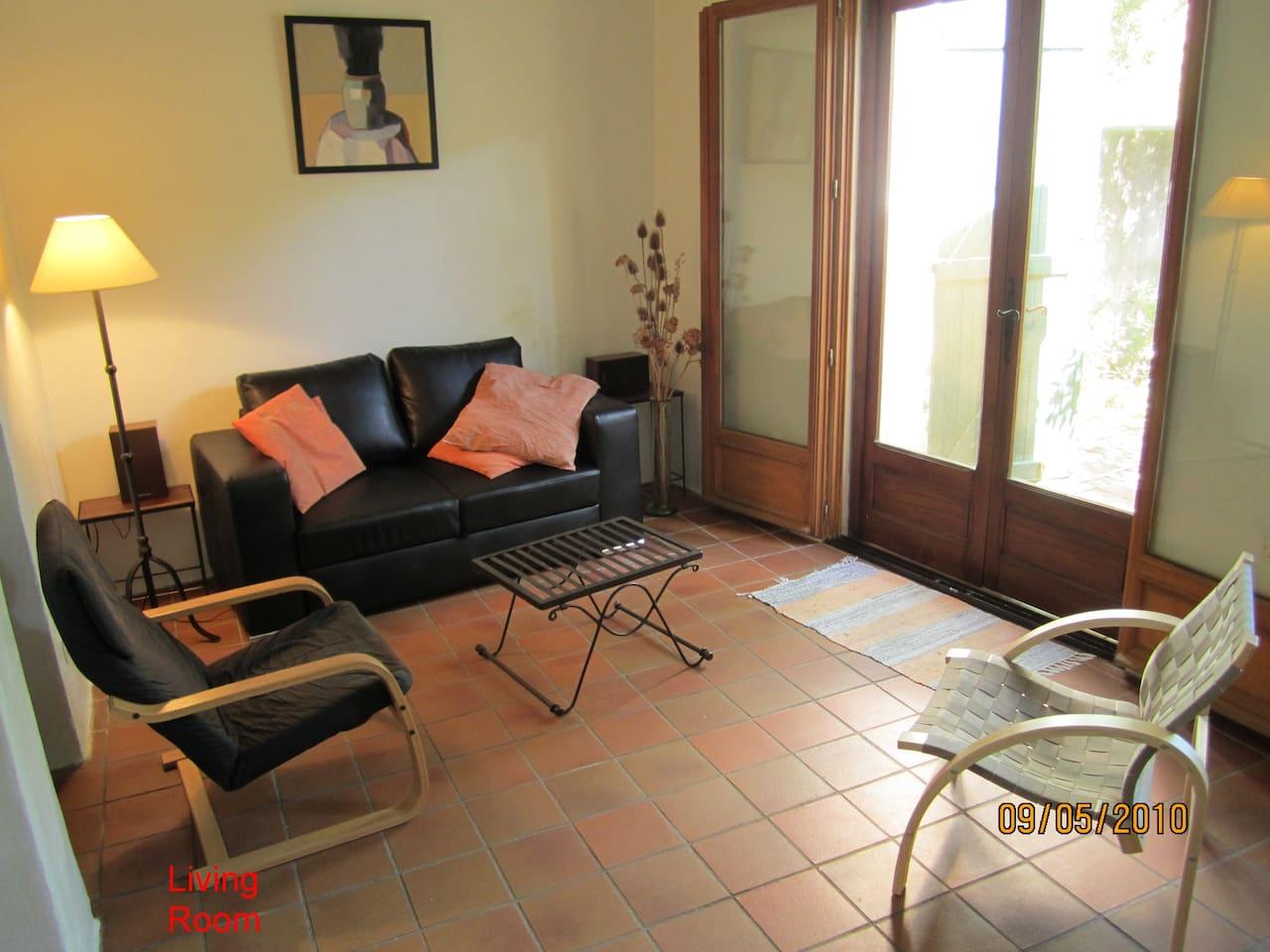 Living room looking onto garden