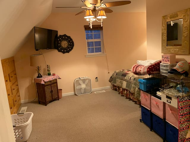 Upstairs bedroom with double bed. Has attached full bathroom  and TV with Firestick