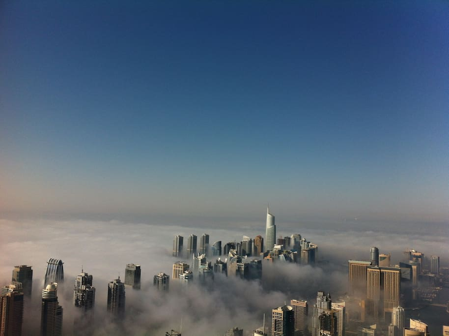 Above morning fog at 7 am from 90th floor