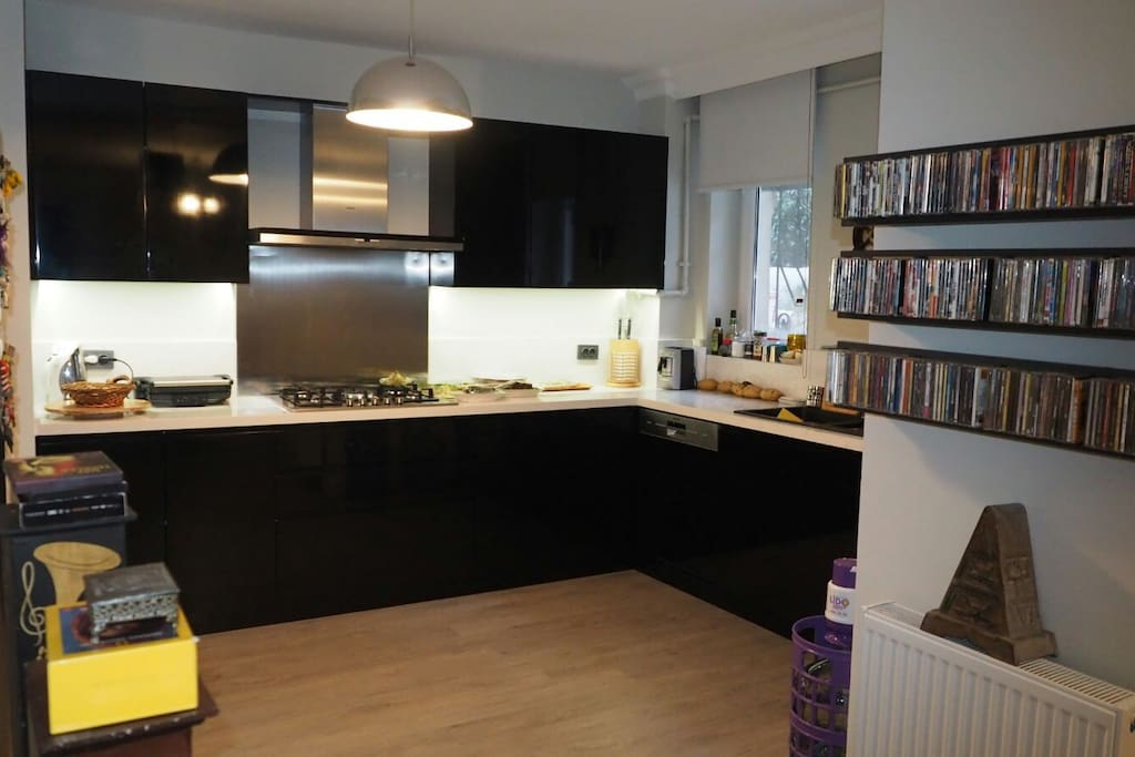Kitchen is very big and perfectly designed. Water heater, coffee machine,  Turkish coffe machine, dishwasher, owen, cooktop, squeezer, fridge, etc. available.