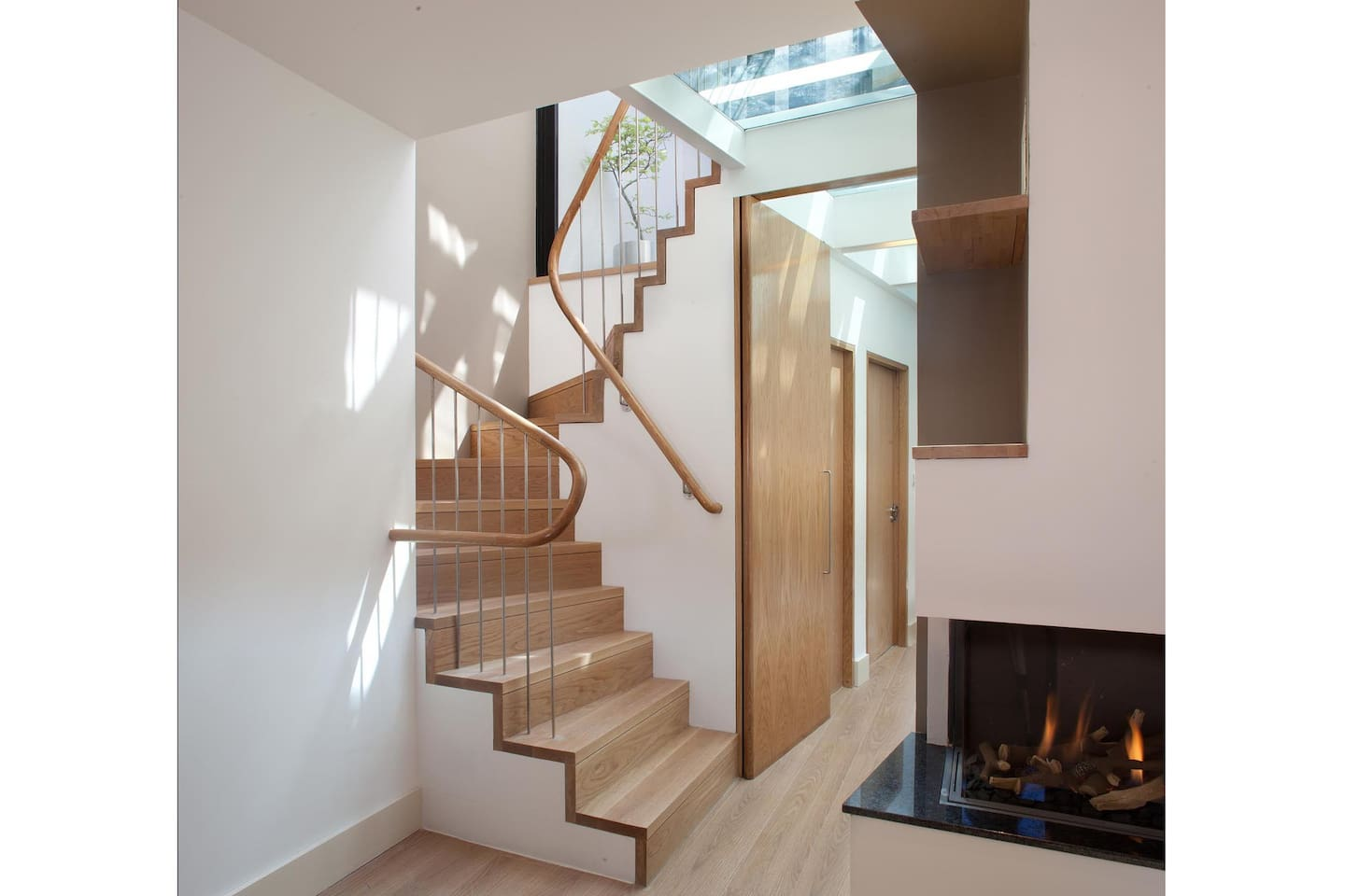 Fireplace, Stairs & Sunlight