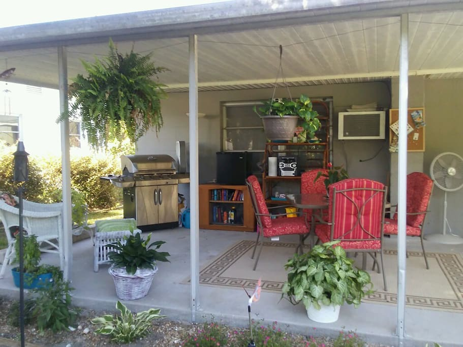 Shared patio with grill