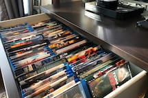 A huge selection of current movies and old classics at your fingertips. All movies are located in the top two drawers of the dresser in the living room. Additional movies are also available on the Apple TV.