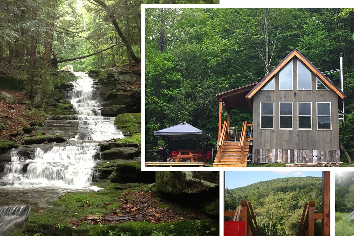 """Welcome to The Falls -- a serene solar-powered """"tiny house"""" getaway on 12 acres in the Upper Delaware River region. Total peace and tranquility but yet so close to Delaware River recreation and quaint country conveniences."""