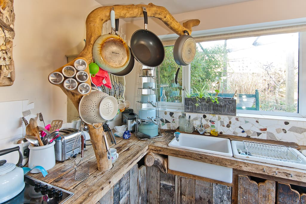 Kitchen made entirely from Driftwood ! Inside the bungalow, available to use.