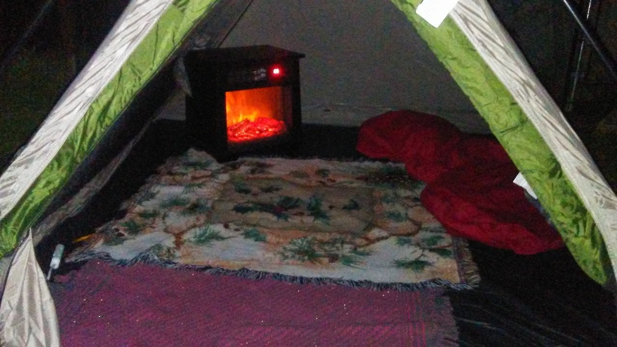 Yes a safe warm fireplace inside your tent! & Lone Wolf Heated Tent Near Sequoia - Tents for Rent in Squaw ...